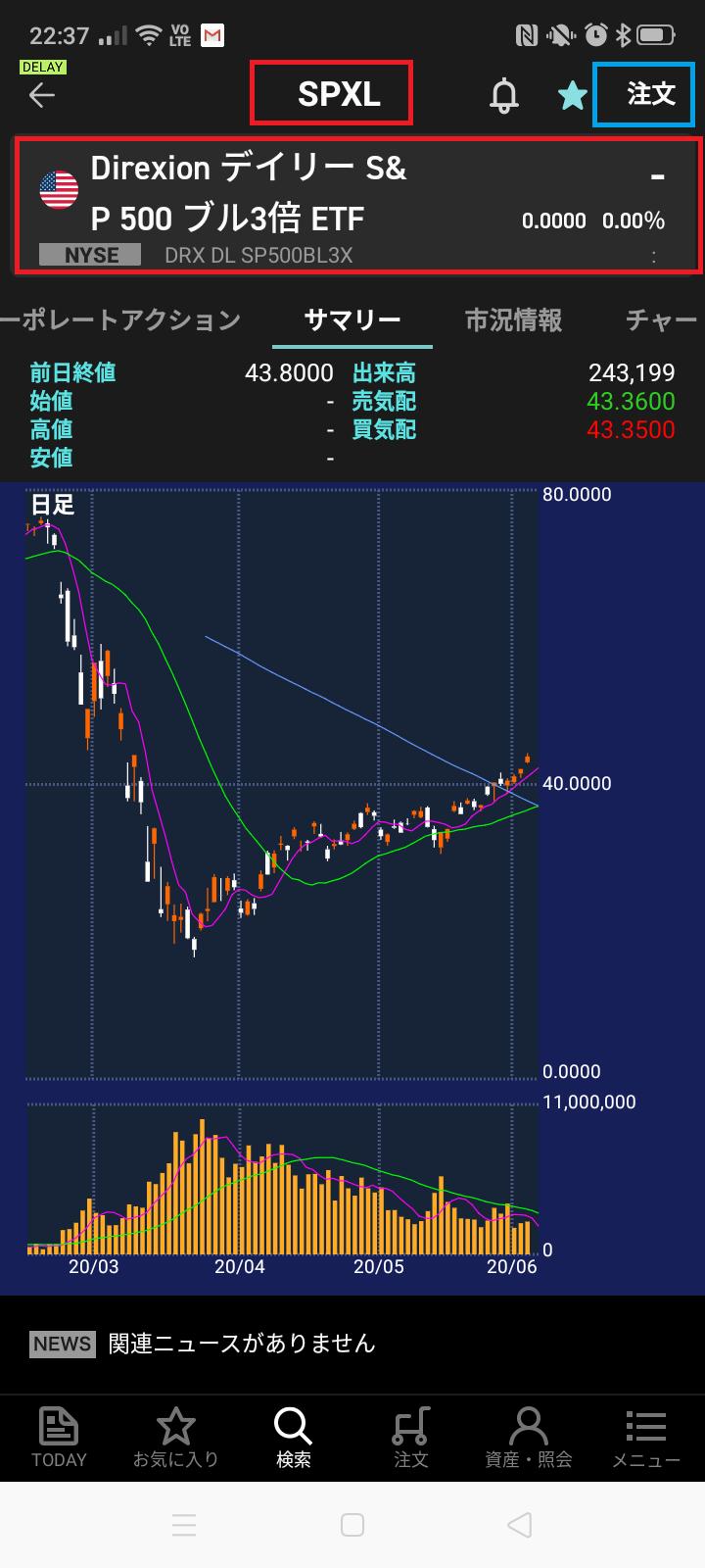楽天証券でのSPXLの買い方2