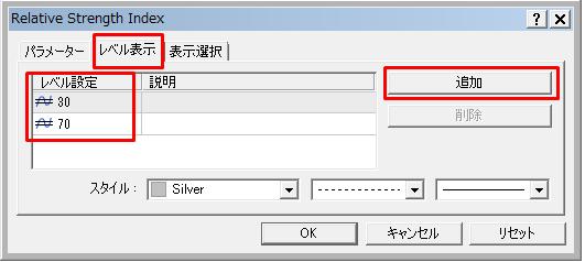 RSIのレベル表示の設定画面