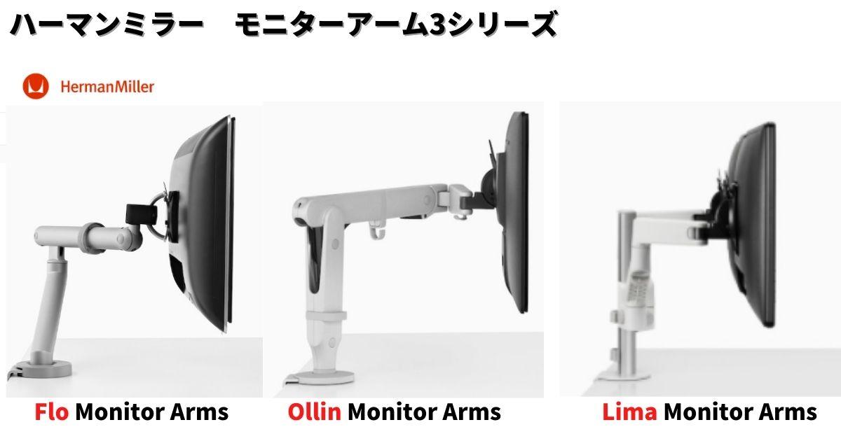 ハーマンミラー 3つのモニターアームシリーズ