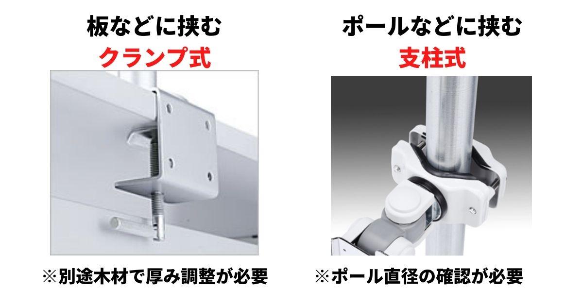メタルラックに取り付けられるモニターアームの種類