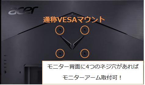 Acerのモニター背面のネジ穴(VESA規格)