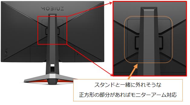 BenQの背面をチェックしモニターアームが取り付けられるかチェック