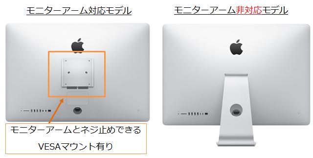 モニターアーム対応のiMacと非対応iMac