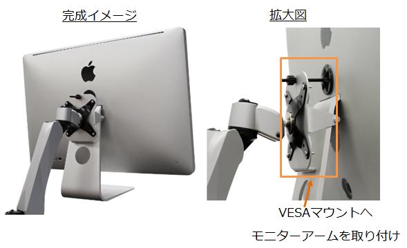 VESAマウントを取り付けたiMac