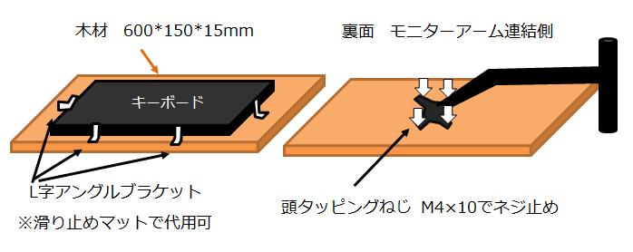 キーボードモニターアームを自作