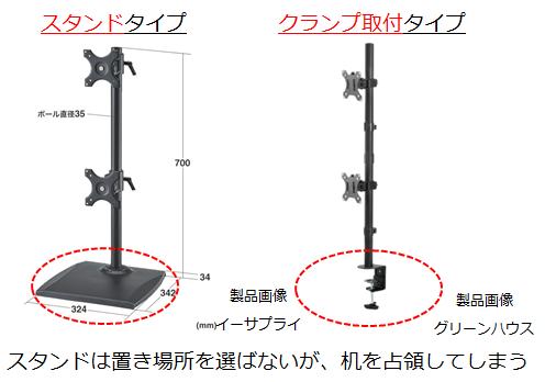 縦2枚デュアルモニターアームの設置例2