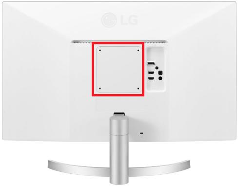 LG 27UL500-Wの裏面VESAマウント部
